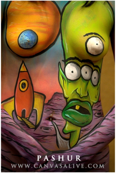 body paint cartoon space alien