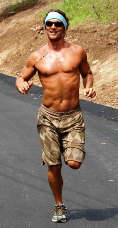 Matthew McConaughey shirtless jogging