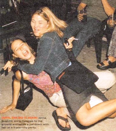 jenna bush falls down drunk