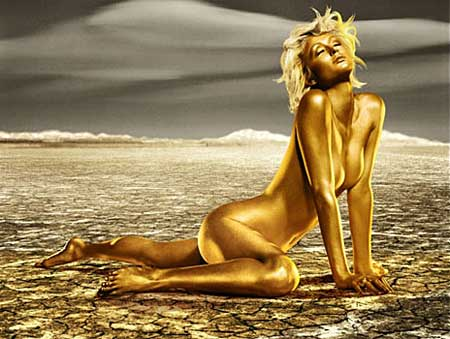 paris hilton gold nude