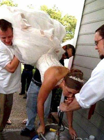 wedding dress keg stand