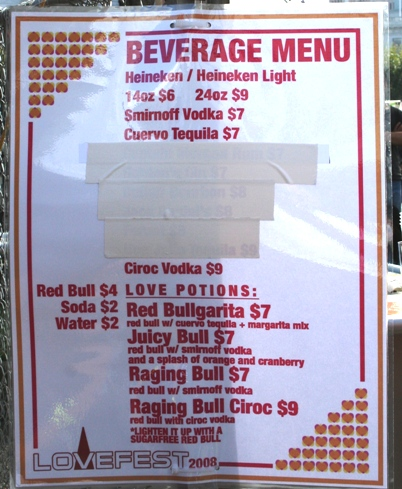 sf lovefest drink menu