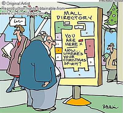 christmas shopping cartoon