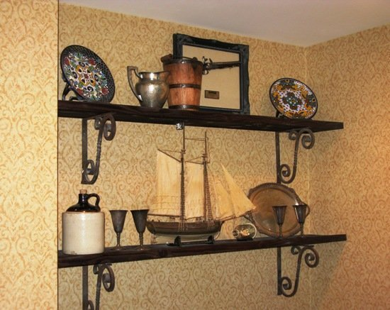 disneyland hotel pirates of the caribbean suite artifact shelf in kitchen