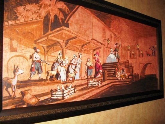 disneyland hotel pirates of the caribbean suite artwork hallway