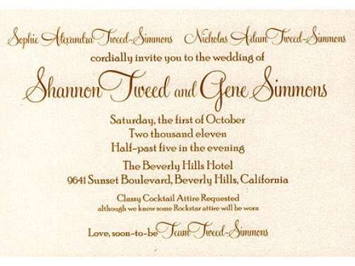 gene simmons shannon tweed wedding invitation