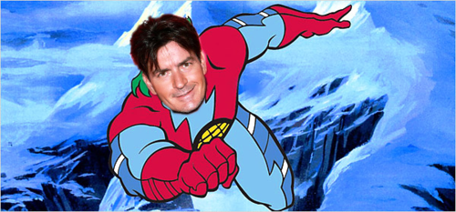 charlie sheen is a super hero