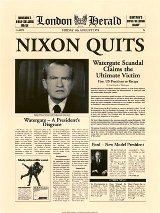 London Herald Newspaper Headline Nixon Quits