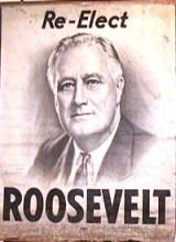 re-elect roosevelt vintage poster
