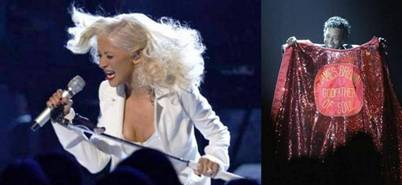 Christina Aguilera performs at the 2007 grammys james brown tribute