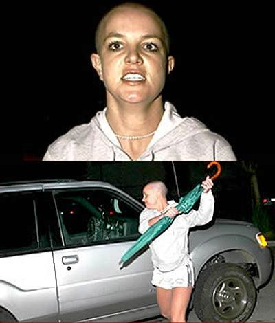 bald britney spears bashes car with umbrella