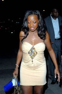 star jones was out the other night with an odd white glow to her chest