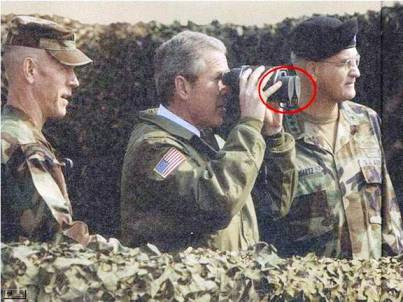 george w bush covered binoculars