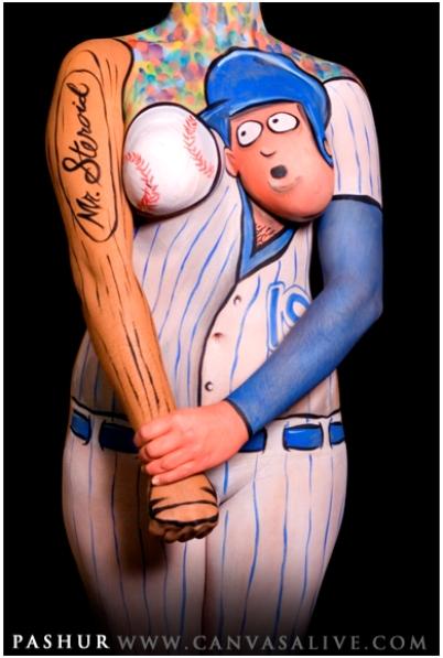 body paint cartoon baseball