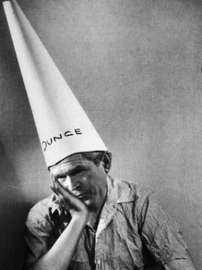 george w bush in dunce cap