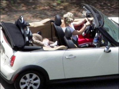 britney spears driving baby backwards