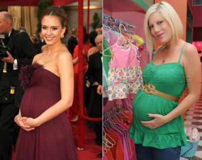 jessica alba tori spelling give birth