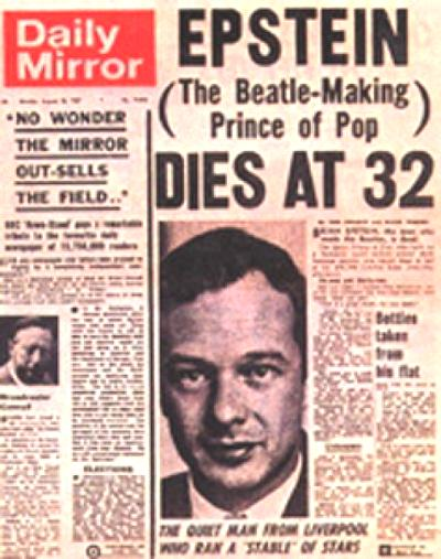 brian epstein dies newspaper headline