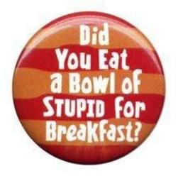 stupid for breakfast badge