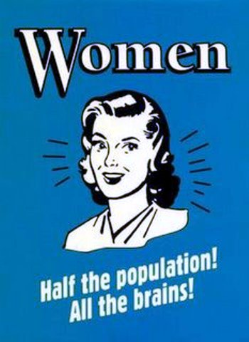women have the brains vintage poster