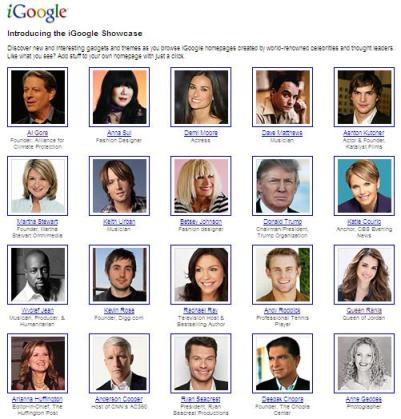 igoogle celebrity showcase examples