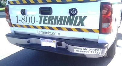 terminix truck hit hows my driving sticker