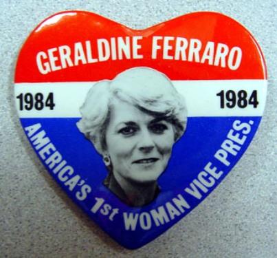 geraldine ferraro first woman vice president political button 1984