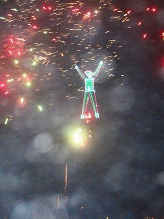 burning man fireworks red