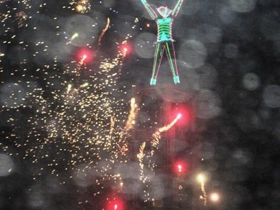 red gold fireworks burning man