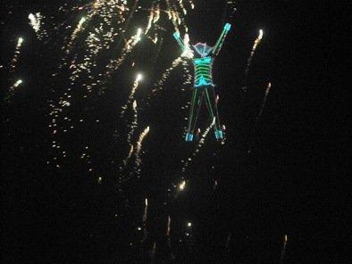 burning man fireworks dark