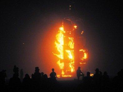 tower fire burning man festival 2010
