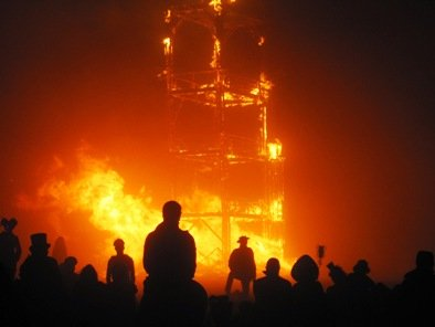 burning man 2010 tower breaks