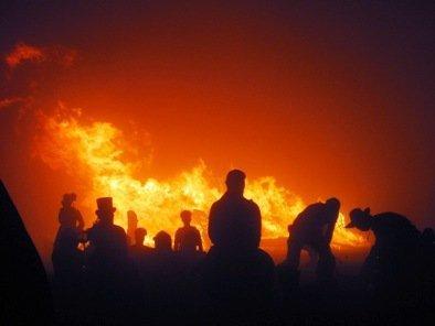 burning man man tower falls