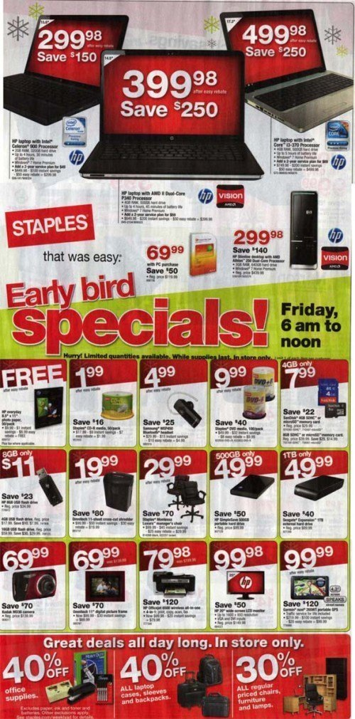 staples black friday sale 2010
