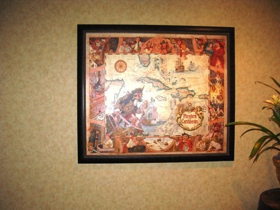 disneyland hotel pirates of the caribbean suite framed map
