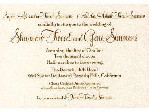 gene simmons shannon tweed wedding invitation